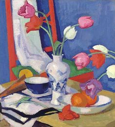 Samuel John Peploe - Red Chair and Tulips 1919 - very bright colours, spread out foreground and background used, not that much tone but enough to make the painting appear 3D, no clear pattern, quite rounded shapes, quite sharp lines
