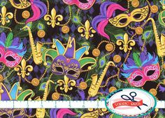 MARDIGRAS MASK FABRIC by the YARD, FAT QUARTER, OR HALF YARD - You Choose - BRIGHT MASKS, BEADS, JOKERS, & MORE ON BLACK Print Fabric - More yardage