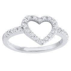 Elora 14k Gold 1/5ct TDW Round Diamond Bridal Heart Promise Engagement Ring (I-J, I2-I3) (Size 10, Yellow Gold), Women's, White I-J