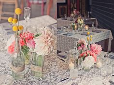 Like the twine around the bottles - maybe do the same with lace instead?