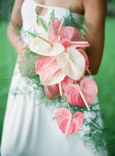 Unique tropical wedding bouquet, pink and white flamingo flowers, cascading, Hawaii bride // James Rubio Photography