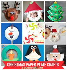 Paper Plate Christmas Crafts at U Create! Find reindeer, snowmen, santas, and more for Christmas events, parties, and school activities!