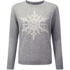 Pure Collection Snowflake Jumper, Heather Dove (€205) ❤ liked on Polyvore featuring tops, sweaters, loose fit tops, loose sweater, heather sweater, long sleeve jumper and loose fitting tops