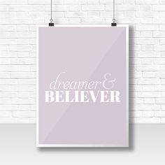Dreamer & Believer Typography Poster by HelloEmmaFisher on Etsy #typography #graphic #design