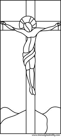 Holy Cross stained glass pattern- I could use this for Easter quilt applique?