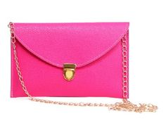 Leather Envelope Clutch Epic Pockebook with optionl Chain Sholder Strap - Hot…