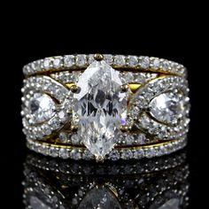 6.68ct Lab Diamond 101 Facet Marquise 3 piece Wedding Ring Set + FREE STUD #Affinityhomeshopping