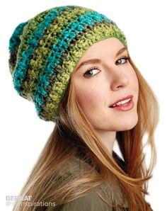 Slouchy Crochet Hat. FREE pattern from yarnspirations