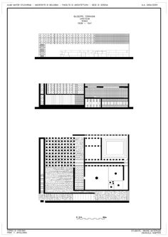 Sections and plan relationship of Danteum.