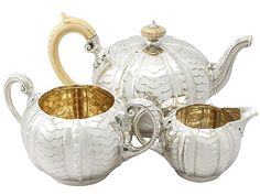 S/Silver Three Piece Tea Service - Antique Victorian