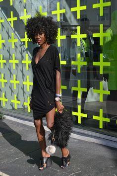 blackfashion:  Tee/Dress - Thrift Clutch - @SheTheCollection Shoes - Zara SoniqueSaturday.tumblr.com @SoniqueSaturday