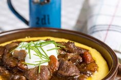 beef stew with mushrooms carrots and corn polenta
