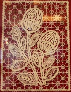 "Bobbin lace from the Russian town of Vologda. Panel ""Strawberries"", 1985 – 87. #Russian #lace"