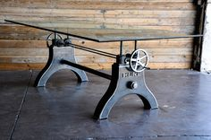 The first Hure Crank Table is together! The base is unfinished (raw steel) right now. We will probably chrome it next. This table adjusts from dining, to counter, to bar height, and can support wood, glass, steel and stone tops. An original design by Vintage Industrial in Phoenix...