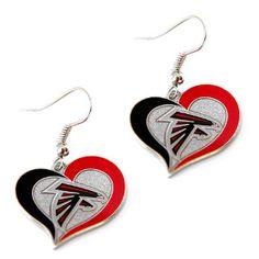 Atlanta Falcons Silver Glitter Heart Earrings w/logo