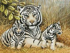 White Tiger and Cubs cross stitch pattern.