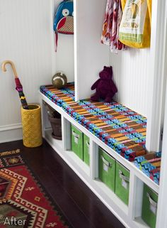 Mudroom - the zone where everyone drops everything (other than the kithen). Get yours organized now before school starts! credit: Prudent Baby [http://prudentbaby.com/2012/07/prudent-home/mud-room-makeover-w-humiliating-before-after/]