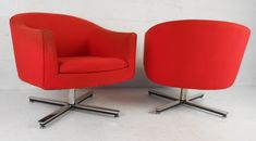 Mid-Century Modern Swivel Club Chairs | From a unique collection of antique and modern club chairs at https://www.1stdibs.com/furniture/seating/club-chairs/