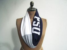 Penn State T Shirt Scarf / Navy Blue White Gray / by ohzie on Etsy