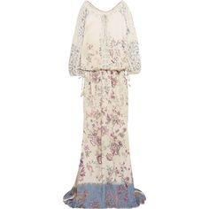 Etro Crochet-trimmed printed crepe maxi dress (£858) ❤ liked on Polyvore featuring dresses, beige, loose fitting dresses, multi color maxi dress, tie-dye maxi dresses, zipper dress and colorful maxi dress