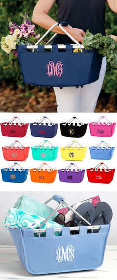 Perfect for creating a DIY gift basket for mom, your sister, best friend, or roommate, this versatile market tote basket personalized with a custom name or monogram is a thoughtful gift with many uses around the home or on the go. Fill the basket with goodies or personal accessories form a memorable and functional Mother's Day, birthday, graduation, Christmas or 'just because' gift. This market tote can be ordered at http://www.tippytoad.com/personalized-large-market-tote-baskets.asp