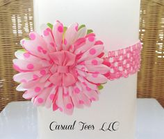 Pink Polka Dot Flower Headband for Baby Girl by CasualTeeCo, $15.00