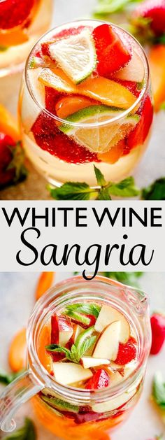 Easy White Wine Sangria - Crisp, bright, and delicious White Wine Sangria loaded with fresh summer fruits! This sangria is THE drink to sip on this entire summer. #easysangriarecipe #summervibes #cocktailsforacrowd