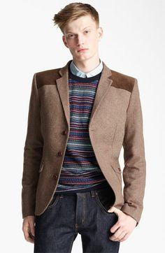 Topman Heritage Fit Herringbone Donkey Blazer available at #Nordstrom