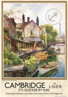 """Vintage Poster Cambridge fisher Lane and Great Bridge"""