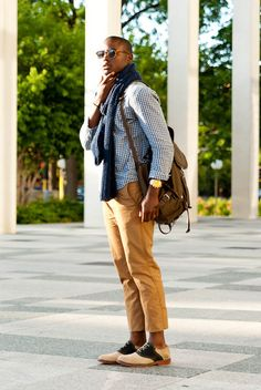 Casual style, saddle shoes, button down, scarf, slacks, and bag