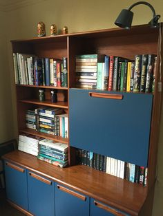Upcycled teak 1970s unit/sideboard painted with Farrow & Ball Stiffkey Blue