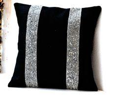 Black Burlap Silver Sequin Stripes decorative by AmoreBeaute, $26.90