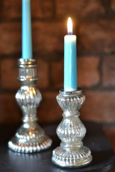 silvered glass candlesticks www.iotabristol.com