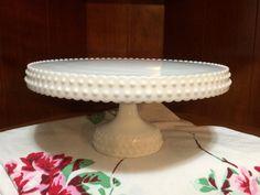 SALE Rare Vintage L. E. Smith Hobnail Milk Glass Pedestal