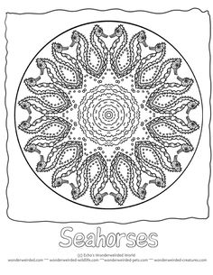 Free Animal Mandalas Coloring Pages Seahorse, Animal Mandalas with Seahorse Pictures from our Ocean Coloring Pages Collection , These Seahorses are playing in a Mandala Picture to Color for your kids