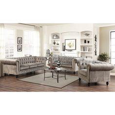 Abbyson Grand Chesterfield Gray Velvet Sofa Set