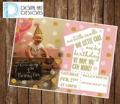 Pink and gold glitter invitation - First Birthday - Girls Glitter Invite - Gold Silver Birthday Invite - *** Digital File Only ***