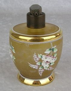 Vtg Czechoslovakia Frosted Amber Glass Perfume Bottle w/ Applied Flowers & Gold, I LOVE LOVE LOVE this!!!!