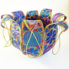 Textile Bowl in Jewel Like Colours with Free Machine Embroidery Fabric Bowls, Organic Form, Free Machine Embroidery, Silk Fabric, Textile Art, Egyptian, Cuff Bracelets, Textiles, Colours