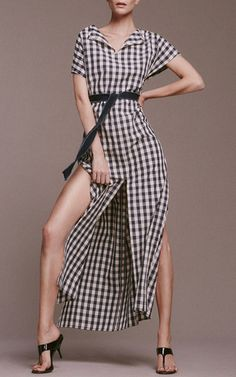 Gingham Poppy Slit Dress by SOLID & STRIPED for Preorder on Moda Operandi