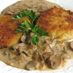 Polish Mushroom Sauce Recipe.  I think a splash of White Wine in this recipe is a good idea.  Serve this sauce with Beef, Breaded Veal, Bread Pork, over Potatoes.  Simply yummy
