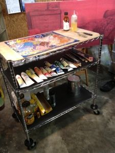 U0027DIY Rolling Artist Palette And Work Table With Shelves...!u0027 (