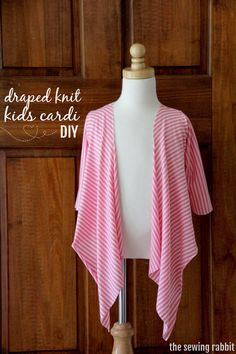 How to Sew a Draped Knit Kids Cardi...and Seven Ways to Style It   ||    www.sewingrabbit.com