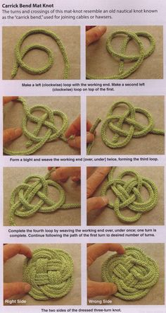 Knotted coasters & trivets -- This is for when you have time while you're camping! This is perfect for Celt and sea lovers!I Cord Knotted coasters & trivetsLearn how to make a Carrick Bend Mat Knotdiy : directions for various knot styles Love this Ce Rope Crafts, Yarn Crafts, Diy Crafts, Knitting Projects, Crochet Projects, Crochet Crafts, Diy Projects, Knitting Patterns, Crochet Patterns