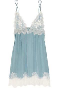 """(Jenny Packham Chantilly Lace and Silk-chiffon Chemise in Blue) """"Something blue"""" lingerie. Belle Lingerie, Lingerie Azul, Sexy Lingerie, Lingerie Babydoll, Lingerie Outfits, Pretty Lingerie, Bridal Lingerie, Lingerie Sleepwear, Beautiful Lingerie"""