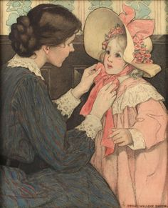 View The Pink Bonnet by Jessie Willcox Smith on artnet. Browse upcoming and past auction lots by Jessie Willcox Smith. Vintage Prints, Vintage Art, Vintage Images, Jessie Willcox Smith, Classical Art, Children's Book Illustration, Victorian Illustration, Vintage Illustrations, Paintings I Love