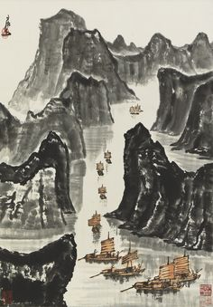 Ink Paintings, Landscape Paintings, Chinese Painting, Chinese Art, Japanese Drawings, Art Japonais, Chinese Calligraphy, Traditional Paintings, Asian Art