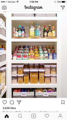 Awesome 35 Ways to Help Get Your Kitchen Organized and Look More Beautiful Pantry organizers come in a variety of shapes, sizes, and functions. Your pantry is basically a filing system - for food! So whatever pantry organization system. Kitchen Organization Pantry, Home Organisation, Pantry Storage, Kitchen Pantry, Storage Organization, Organized Pantry, Pantry Ideas, Organizing Small Kitchens, Pantry Shelving