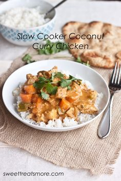 Slow Cooker Coconut Curry Chicken || Sweet Treats and More. Coconut Curry Chicken made easy in the slow cooker with so much flavor!
