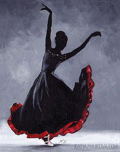 Original Acrylic Painting on Canvas 'Leon' Flamenco Dancer Ballet Modern Contemporary